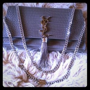 SAINT LAURENT Medium Kate Crocodile Satchel Bag
